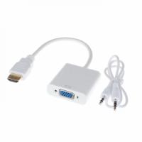 Преходник No brand, HDMI към VGA + AUDIO кабел, Бял